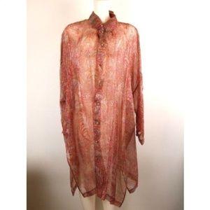 Eskandar Red Paisley Silk Sheer Long Sleeve Duster